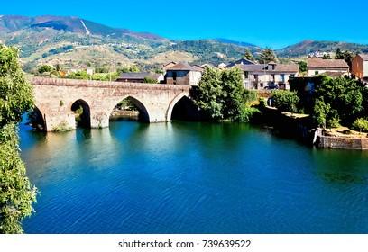 old bridge in Petin on river Sil, Orense, Galicia, Spain.