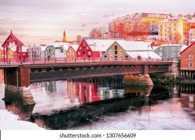 The Old Bridge at the river Nidelva in the Norwegian city Trondheim in the winter