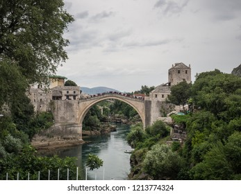 The Old Bridge (Stari Most) over the Neretva river in Mostar, Bosnia and Herzegovina
