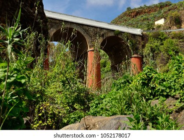Old bridge of Valsequillo, view from below amidst the vegetation, Gran canaria