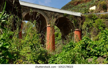 Old bridge, view from below amidst the vegetation, Valsequillo, Gran canaria