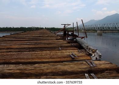 old bridge in Vitim river
