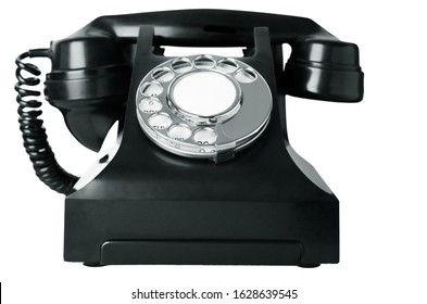 An old British bakelite telephone circa 1940s, isolated on a white background. Black and white image (greyscale).
