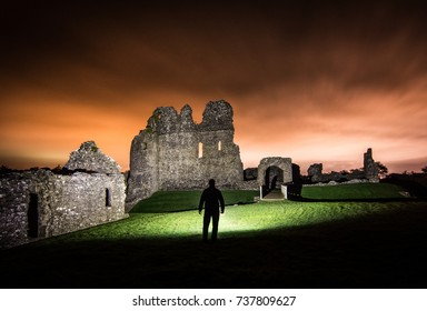 Old British Castle At Night