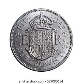 old British half crown coin from the pre-decimalization era