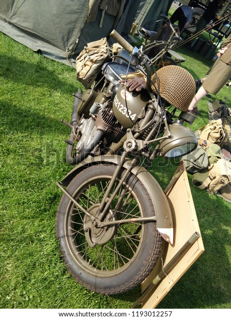Old British Military Motorcycle Bsa Show Stock Photo (Edit Now