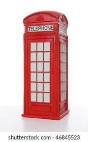 Old British red phone booth isolated on white