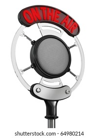 """Old broadcast microphone with """"On the Air"""" sign illuminated, isolated on white background (3d render)"""