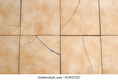 Old And Broken Asbestos Floor Tiles