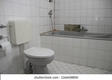 an old broken bathroom