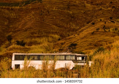 Old Broken Bus in the Woods