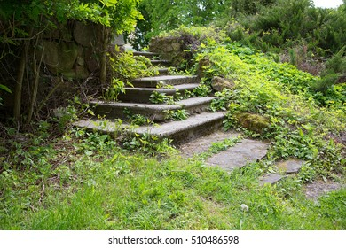Old broken concrete stairs in abandoned park and overgrown with grass