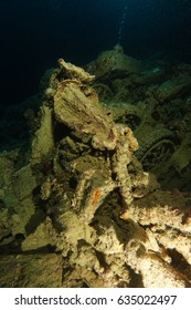Old broken motorcycle inside the wreck name is SS Thistlegorm