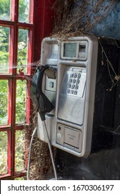 Old broken payphone in a red phone booth.
