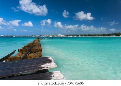 Old broken pier near Bridgetown, Barbados