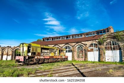 Old broken rusty diesel shunter locomotive at Gyumri Depot in Armenia