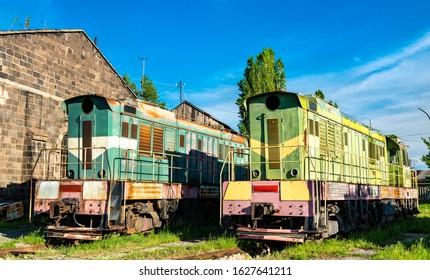 Old broken rusty diesel shunter locomotives at Gyumri Depot in Armenia
