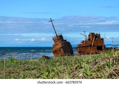 An old broken rusty ship