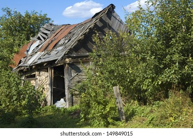 Old, broken-down hut in the countryside