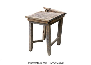an old broken-down stool. Broken chair. Isolated on a white background.