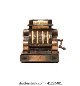 Old bronze calculator machine over white background