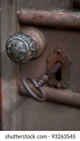 Old Bronze Doorknob and key in Florence Italy