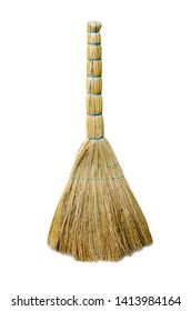 old broom isolated on a white background
