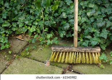 old broom, swab in the garden against green ivy background