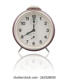 Old brown alarm clock