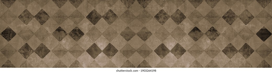 Old brown beige worn vintage shabby patchwork mosaic tiles wallpaper stone concrete cement wall texture background banner, with rhombus diamond rue lozenge square print