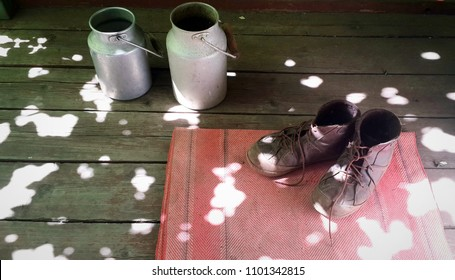 old brown boots on red door mat and two vintage aluminum milk cans on wooden floor. group of objects in sunspots