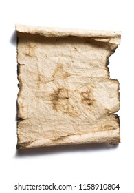 Old brown burnet paper isolated on a white background