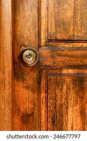 old brown door with old knob