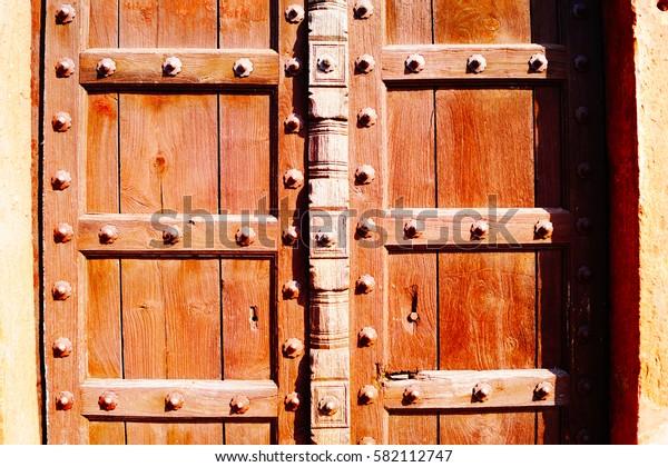 Old brown door. Taj Mahal territory. Pattern, background.