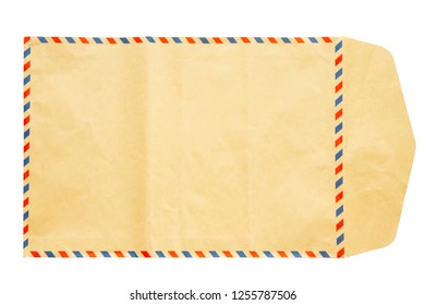 Old brown envelope isolated on white background