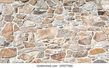 Old brown and gray cobblestone wall texture