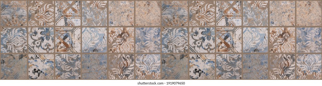 Old brown gray rusty vintage worn shabby patchwork square mosaic motif tiles stone concrete cement wall texture wallpaper background banner panorama