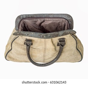 old brown handbag open isolated