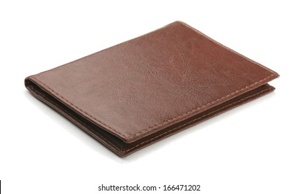 Old brown leather cover isolated on white