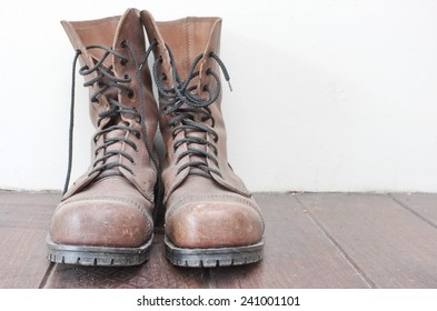 old brown leather men's boots