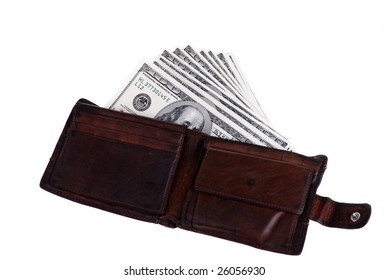 Old brown leather wallet stuffed with money isolated on white.