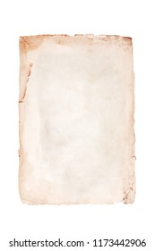 Old brown page on a white background. Isolated on white