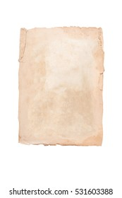 Old brown page on a white background. Isolated