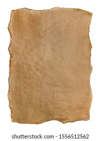 Old brown paper isolated on white background. Burnt paper texture.