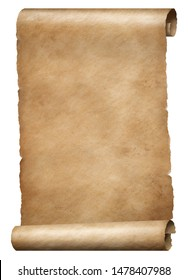Old brown parchment king's order scroll isolated on white