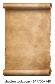 Old brown parchment scroll isolated on white
