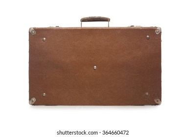 Old brown suitcase. Isolate on white background.