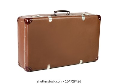 old brown suitcase isolated before white background