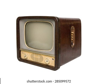 old brown television, side view. retro Style