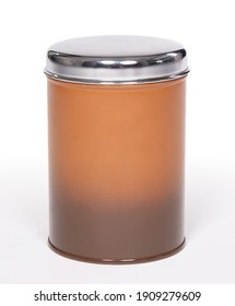 Old brown tin can, isolated on white background
